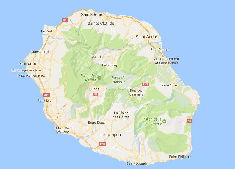 Reunion Island Map Reunion Island google map   Alpha Dive Centre Reunion Island Map